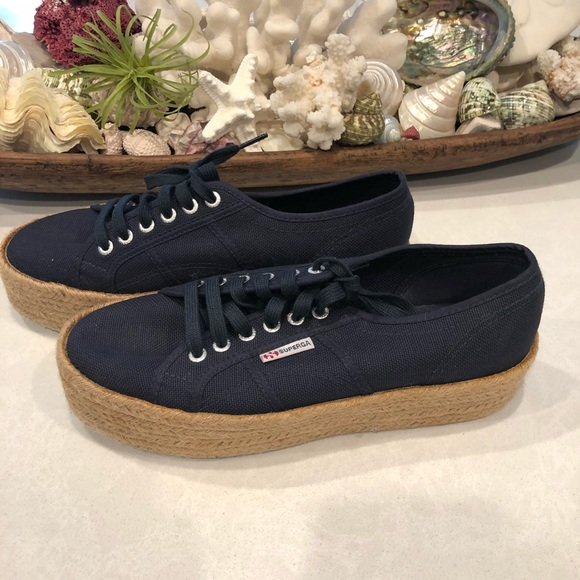 c9f7cf420f7 Superga Shoes - Superga Navy Blue Platform Rope Sneakers MINT